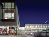 The New Whitby Public Plaza, Illuminated by the Library at Night.