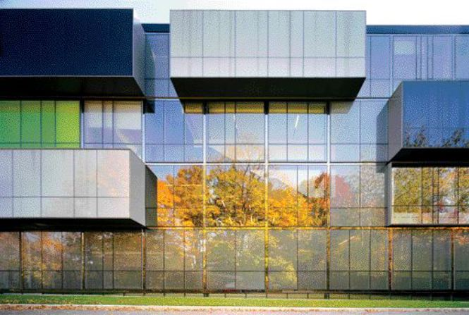 Jutting and Cantilevering Forms Enliven the Orthogonal Rigour of the West Elevation.