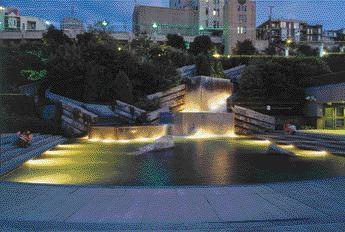 The Waterfall of Jardin De Saint-Roch at Night
