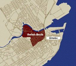 A Map Indicating the Location of Saint-Roch in Relation to Quebec's Old City.