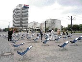 RACA's Pulsk Ravn and Johan Carlsson Set Up Deck Chairs on Berlin's Alexanderplatz, Which are Used by the Public in a Surprising Variety of Ways.