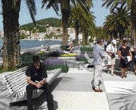 Along Croatia's Waterfront City of Split, 3LHD Architects Installed Paving, Seating and Fountains for People to Enjoy.