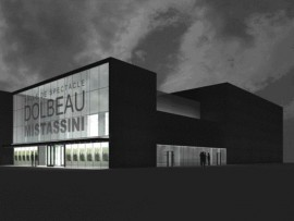Simple elegant forms of the scheme enlivened by the glass faade as marquee in this dramatic rendering of the theatre facility.