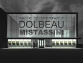 Rendering of the theatre's front elevation fully reveals the building's transparency and graphic quality, and its purity of form remains unblemished through the clever incorporation of signage and the marquee into the glazing itself.