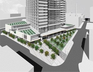 Rendering of the landscaping and outdoor public space proposed in the project design, critical to this important downtown site