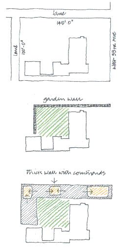 Sketches and axonometric drawings explicitly convey the respectful deference to the existing Crosby House, and the clever organization of the Garden Wall House around a series of courtyards.