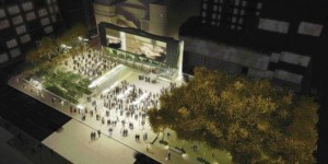 Aerial view of the plaza illustrates the variety of design features comprising the space, and a sense of scale when populated.