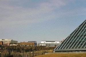 View of the museum and its neighbouring buildings from Edmonton's River Valley, which at 7,400 hectares, is the largest stretch of urban parkland in north america.
