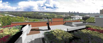 The museum's roof terrace offers expansive views of Edmonton's stunning prairie landscape and blue skies.