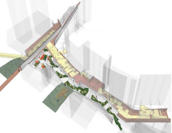 The premise of this thesis is the residual space defined by a vehicular ramp, the dominant curve of BC Place Stadium and the primarily orthogonal grid of low-rise buildings adjacent to it. the creation of usable public space in these leftover voids between buildings is addressed on a number of levels, both literally and metaphorically.