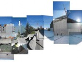 A photo-collage explores the relationship between the pedestrian walkway and Expo Boulevard