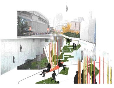 A proposed view from the Georgia Viaduct of the inhabited public space