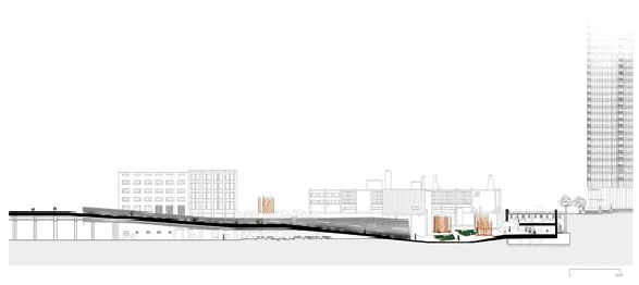 Longitudinal site section conveys a sense of scale of the intervention.