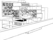 Perspectival drawing illustrates components of the culture + commerce mill such as an overhead rolling door, flip stair, fold stair, elevating media studio, rotating parking disc and auditorium-atrium pivot, among others.