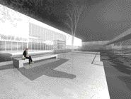 Rendering of the exterior event space at night.