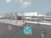 Rendering of people enjoying the waterscape elements of the project