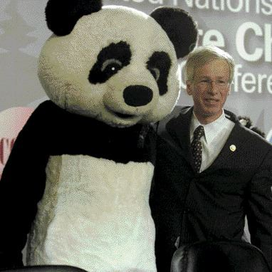 Drawing strength from an endangered species, Stphane Dion opens a 2005 UN conference on Climate Change in Montreal.