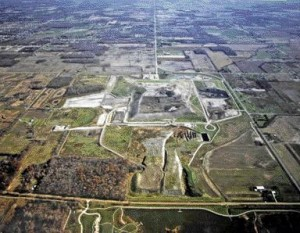 Aerial view of one square mile of the Carleton Farms Landfill in New Boston, Michigan at its current elevation of 38 metres, less than half of its expected height of 100 metres by 2025.