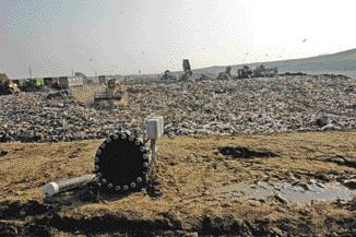 At the staging area of a landfill cell.