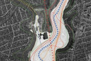 """With the existing Industrial pad blocking the park space to the north, the site's various surrounding """"flows"""" such as trails, roads, rail and hydro corridors create both design opportunities and challenges"""