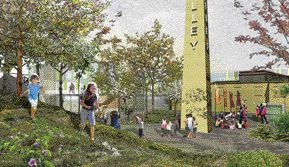 As part of a series of illustrations developed for the architectsalliance master plan, this image begins to envision how the site might be used by the public.