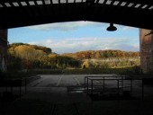 A view looking out from one of the heritage industrial buildings