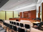 The council chamber is a ceremonially formal space that avoids austerity.