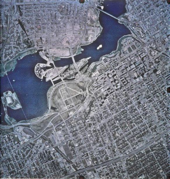 A current aerial photograph shows the E.B. Eddy Buildings located on the Chaudire and Albert Islands in the middle of the Ottawa River between Ontario and Quebec.