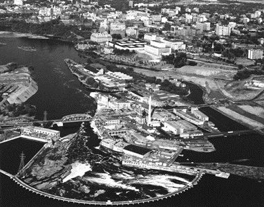 An aerial photograph of the site, taken around 1946.