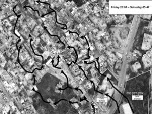 Arrows indicate the methodology of the IDF attacking the Old City centre of Nablus in these two images. The IDF did not move as expected through the main roads, but through the built fabric itself.