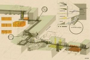 """""""Along the Insides"""" scooped the competition's second Prize, and examines Winnipeg's elevated walkways. the team is comprised of University of Manitoba architecture students Jennifer Reynolds, Tom Alston and Rebecca Loewen."""