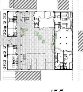 Ground Floor1 Apartment Unit2 Walkway3 Exit Stair4 Courtyard5 Hostel Lounge6 Kitchen7 Hostel Dining Room8 Parking