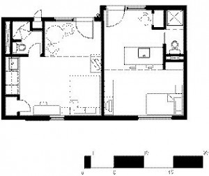 Typical Unit1 Walkway/Deck2 Entry3 Living/Sleeping4 Kitchen5 Shelves6 WC7 Shower8 Closet