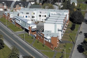 Aerial view of the Richmond Road Affordable Housing complex taken from the corner of Richmond Road and Midway Avenue