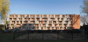The metal screens and balconies of the Rsidences Jean-Placide-Desrosiers in Ville St-Pierre create a sense of individuality within the building's overall composition. Although very different in size and context, this project and the one above express a playfulness in their designs.