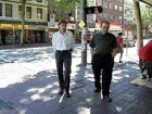 Gregory Henriquez (right) and developer Ian Gillespie (left) walk around the Woodward's redevelopment site.