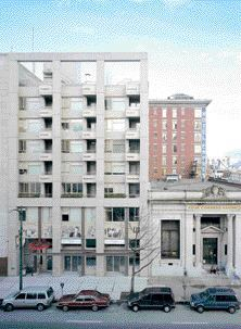The front faade of Bruce Eriksen Place in vancouver's downtown eastside.