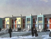A site plan is clarified with photographic highlights of significant key features to be incorporated into the design scheme. Housing is oriented in such a way as to minimize snow drift and the effects of arctic winds.