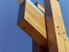 The efficient yet expressive glulam details and galvanized metal flashing were designed to be built quickly using local band labour.
