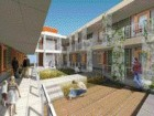A rendering of the fully landscaped exterior courtyard.