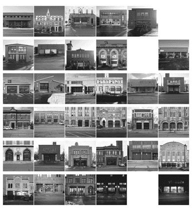 A photographic grid represents yann serandour's efforts in capturing every ostensibly operational fire station in montreal as of december 2001. Three blank spaces indicate those that were non-existent or in ruins.
