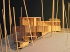 A more complete view of the rear of the integral house, represented by a wooden model