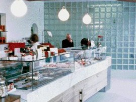 A view inside thomas haas's pastry shop and coffee bar in north vancouver reveals the use of glass block--an almost retro-chic gesture. But glass block is used in this instance to reference the square morsels of chocolate on display inside the glass showcase units.