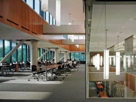 Structural steel hangers help support the two-storey volume along the western portion of the building while providing a subtle division of space for students. Glass separations, acoustic panels and white noise machines are used to temper the level of ambient noise, while a blend of natural and artificial lighting creates a pleasant reading environment.