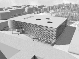 THIS EXTERIOR RENDERING ILLUSTRATES THE BUILDING'S WARPED SKIN THAT REACTS TO THE TOPOGRAPHY ADJACENT TO THE SITE