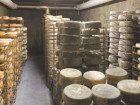 Wheels of cheese rest on racks in one of the aging caves.
