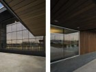 The subtle play between the overhangs and recesses can be seen in these two views of the building.