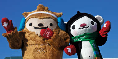 Cheerful and welcoming ambassadors Quatchi and Miga, two of the three official mascots of the 2010 Vancouver Winter Olympics.
