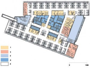 """Typical tower floor layout concept -- east and west faces offer a double-skin faade with occupant-controlled natural ventilation  -- floor-to-ceiling height of 3.31m (10'10"""") -- floor-to-ceiling glazing, typical -- overhead radiant heating and cooling -- air and services distributed through raised access floorsKEY1 contained spaces -- 8'0"""" demountable solid and glass partitions2 enclosed spaces -- 8'0"""" demountable solid and glass partitions, with glass transoms to ceiling3 atria -- north/south multiple floor atriums, with communication stairs4 core -- elevators, services and storage5 open work stations -- 50"""" tall panels"""