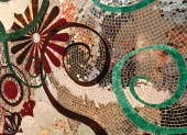 A beautifully ornate and whimsical tile mosaic evidences the still-vibrant tradition of craft in Italy.
